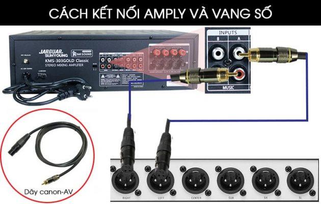 Cách kết nối vang cơ hoặc vang số với amply